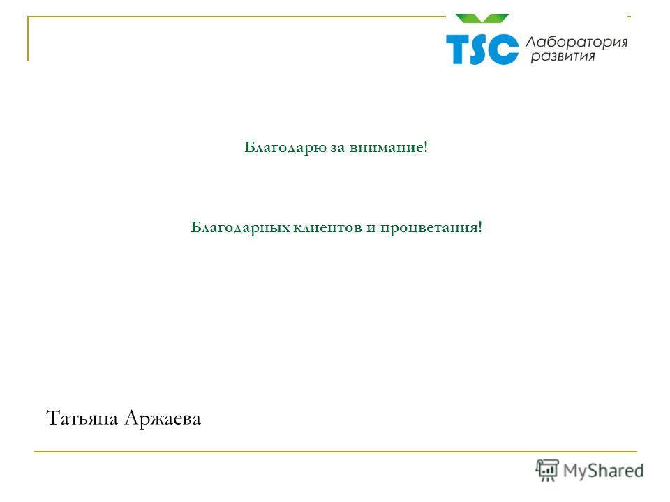 Благодарю за внимание! Благодарных клиентов и процветания! Татьяна Аржаева