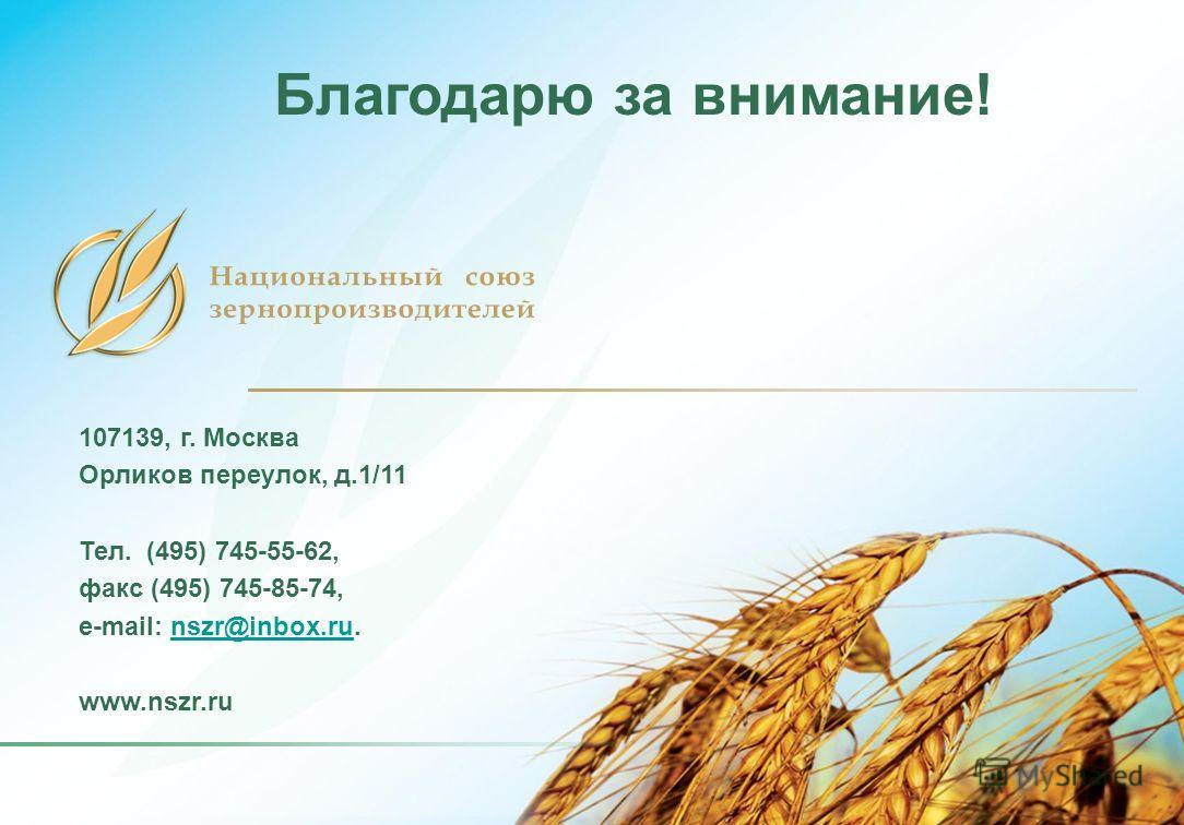 107139, г. Москва Орликов переулок, д.1/11 Тел. (495) 745-55-62, факс (495) 745-85-74, e-mail: nszr@inbox.ru.nszr@inbox.ru www.nszr.ru Благодарю за внимание!