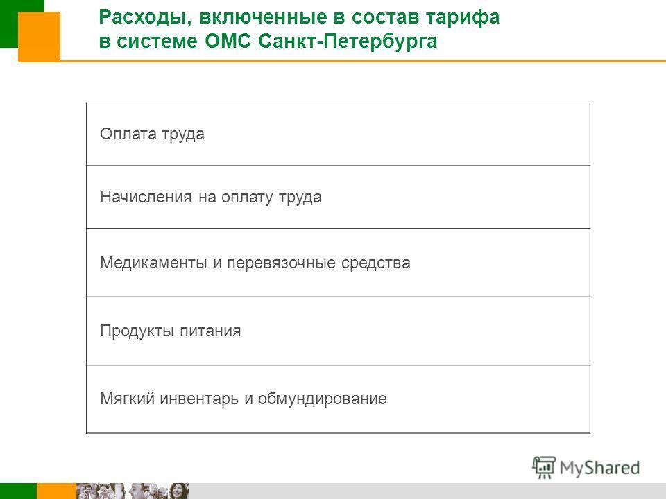 Расходы, включенные в состав тарифа в системе ОМС Санкт-Петербурга Оплата труда Начисления на оплату труда Медикаменты и перевязочные средства Продукты питания Мягкий инвентарь и обмундирование