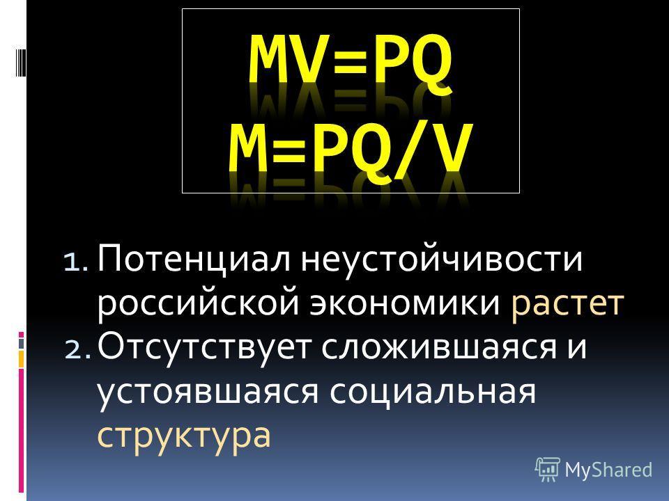 1. Потенциал неустойчивости российской экономики растет 2. Отсутствует сложившаяся и устоявшаяся социальная структура