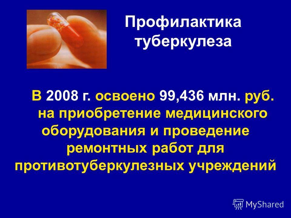 Профилактика туберкулеза В 2008 г. освоено 99,436 млн. руб. на приобретение медицинского оборудования и проведение ремонтных работ для противотуберкулезных учреждений