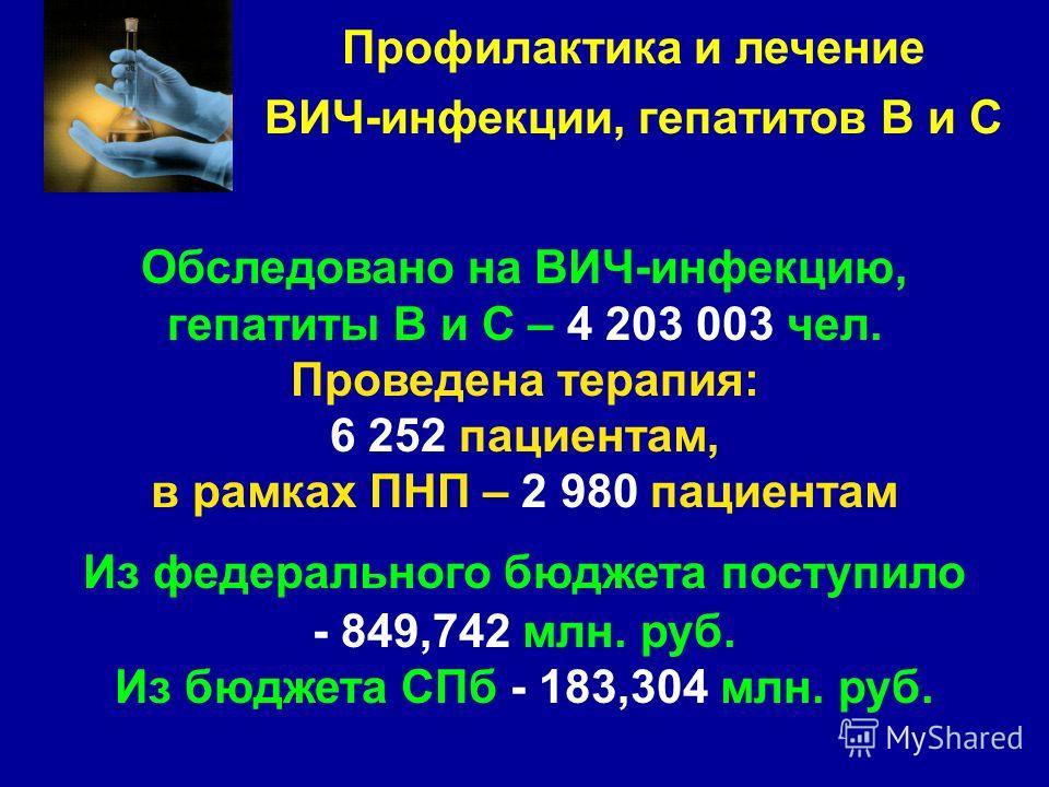 Обследовано на ВИЧ-инфекцию, гепатиты В и С – 4 203 003 чел. Проведена терапия: 6 252 пациентам, в рамках ПНП – 2 980 пациентам Из федерального бюджета поступило - 849,742 млн. руб. Из бюджета СПб - 183,304 млн. руб. Профилактика и лечение ВИЧ-инфекц
