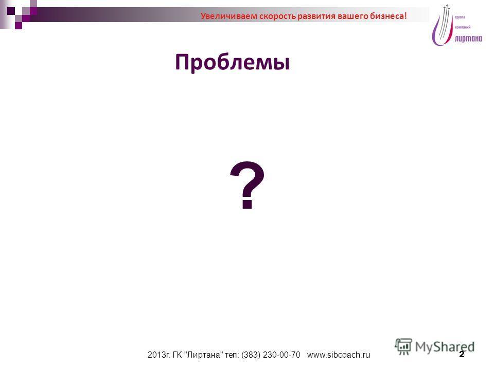 2013г. ГК Лиртана тел: (383) 230-00-70 www.sibcoach.ru Проблемы 2 ? Увеличиваем скорость развития вашего бизнеса!