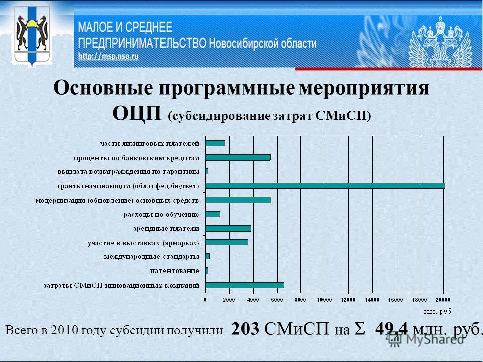 Основные программные мероприятия ОЦП (субсидирование затрат СМиСП) Всего в 2010 году субсидии получили 203 СМиСП на Σ 49,4 млн. руб.