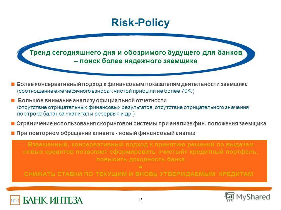 13 Risk-Policy Более консервативный подход к финансовым показателям деятельности заемщика (соотношение ежемесячного взноса к чистой прибыли не более 70%) Большое внимание анализу официальной отчетности (отсутствие отрицательных финансовых результатов