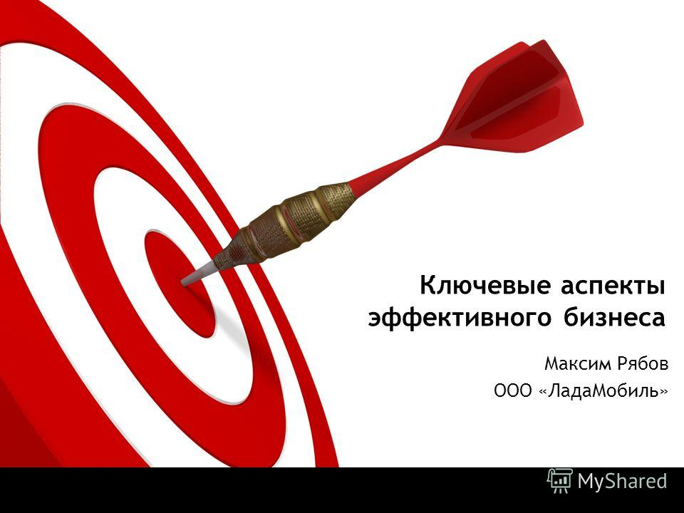 Ключевые аспекты эффективного бизнеса Максим Рябов ООО «ЛадаМобиль»