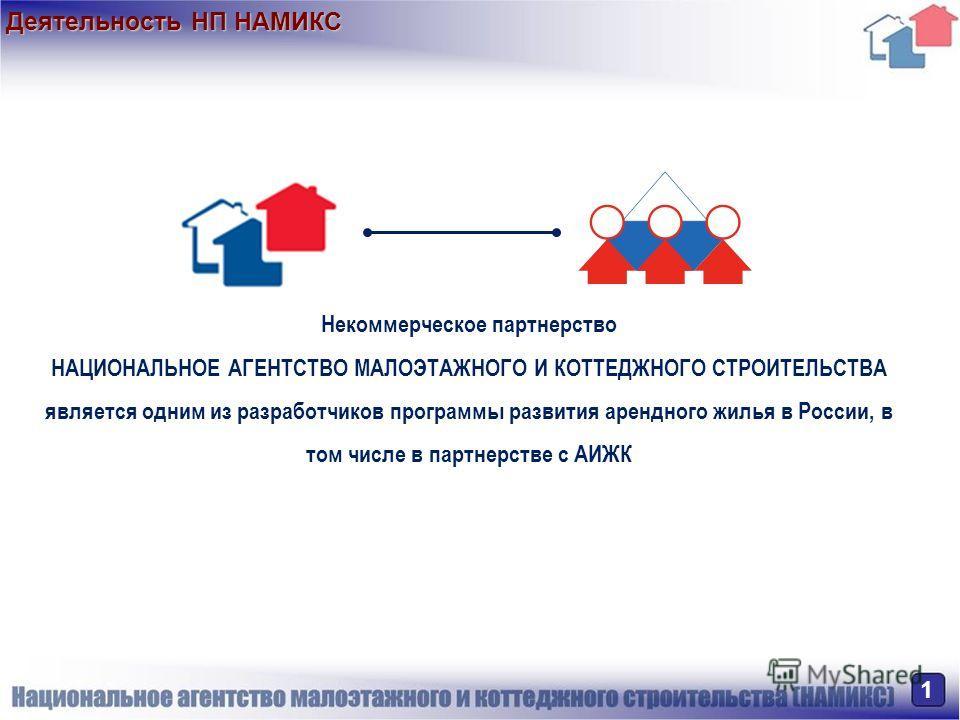 Деятельность НП НАМИКС 1 Некоммерческое партнерство НАЦИОНАЛЬНОЕ АГЕНТСТВО МАЛОЭТАЖНОГО И КОТТЕДЖНОГО СТРОИТЕЛЬСТВА является одним из разработчиков программы развития арендного жилья в России, в том числе в партнерстве с АИЖК