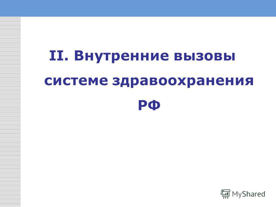 II. Внутренние вызовы системе здравоохранения РФ