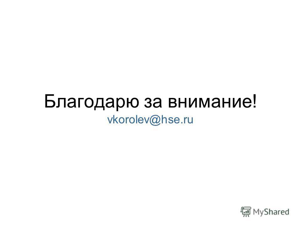 Благодарю за внимание! vkorolev@hse.ru