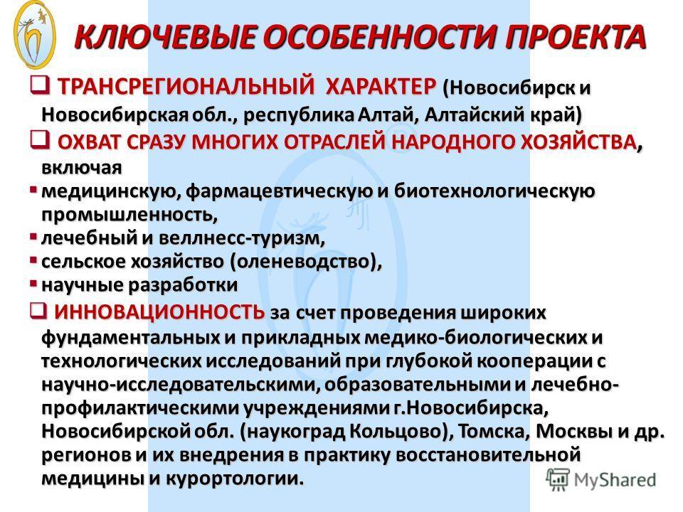 КЛЮЧЕВЫЕ ОСОБЕННОСТИ ПРОЕКТА ТРАНСРЕГИОНАЛЬНЫЙ ХАРАКТЕР (Новосибирск и Новосибирская обл., республика Алтай, Алтайский край) ТРАНСРЕГИОНАЛЬНЫЙ ХАРАКТЕР (Новосибирск и Новосибирская обл., республика Алтай, Алтайский край) ОХВАТ СРАЗУ МНОГИХ ОТРАСЛЕЙ Н