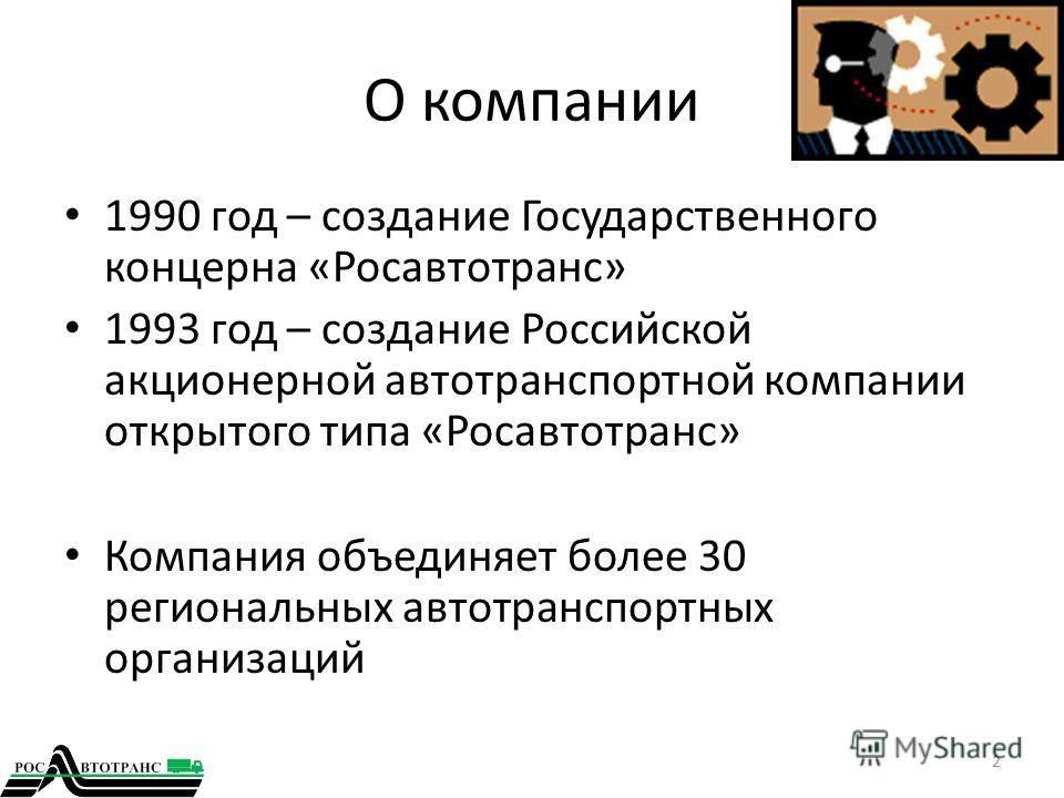 О компании 1990 год – создание Государственного концерна «Росавтотранс» 1993 год – создание Российской акционерной автотранспортной компании открытого типа «Росавтотранс» Компания объединяет более 30 региональных автотранспортных организаций 2