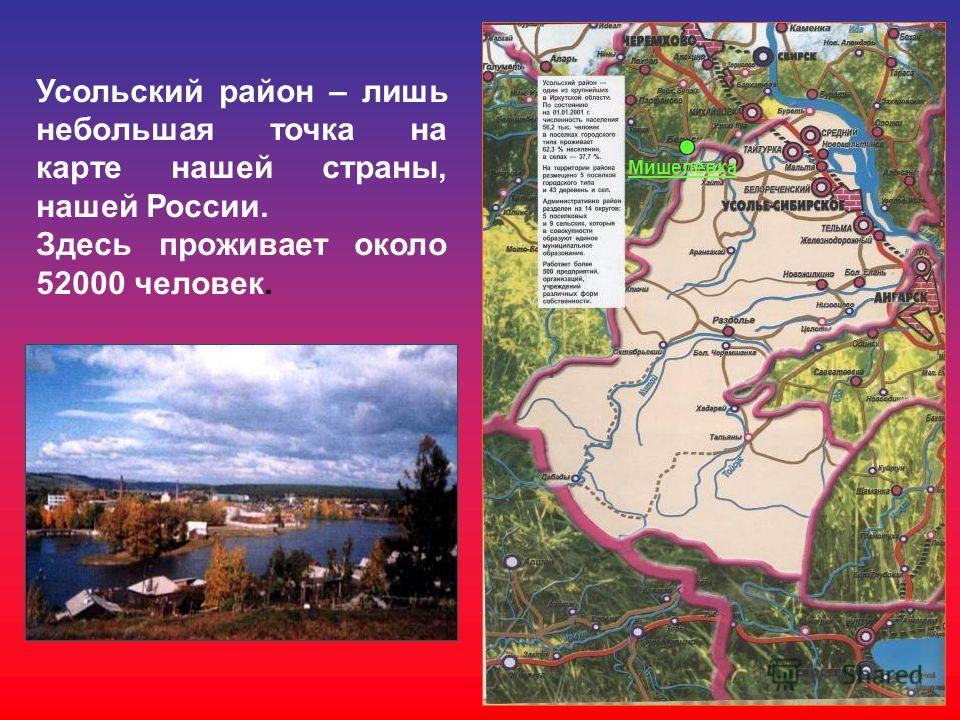 Усольский район – лишь небольшая точка на карте нашей страны, нашей России. Здесь проживает около 52000 человек. Мишелёвка