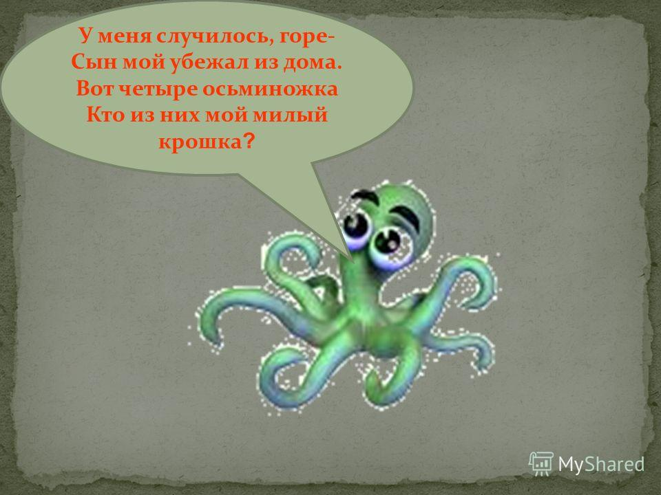 У меня случилось, горе- Сын мой убежал из дома. Вот четыре осьминожка Кто из них мой милый крошка ?