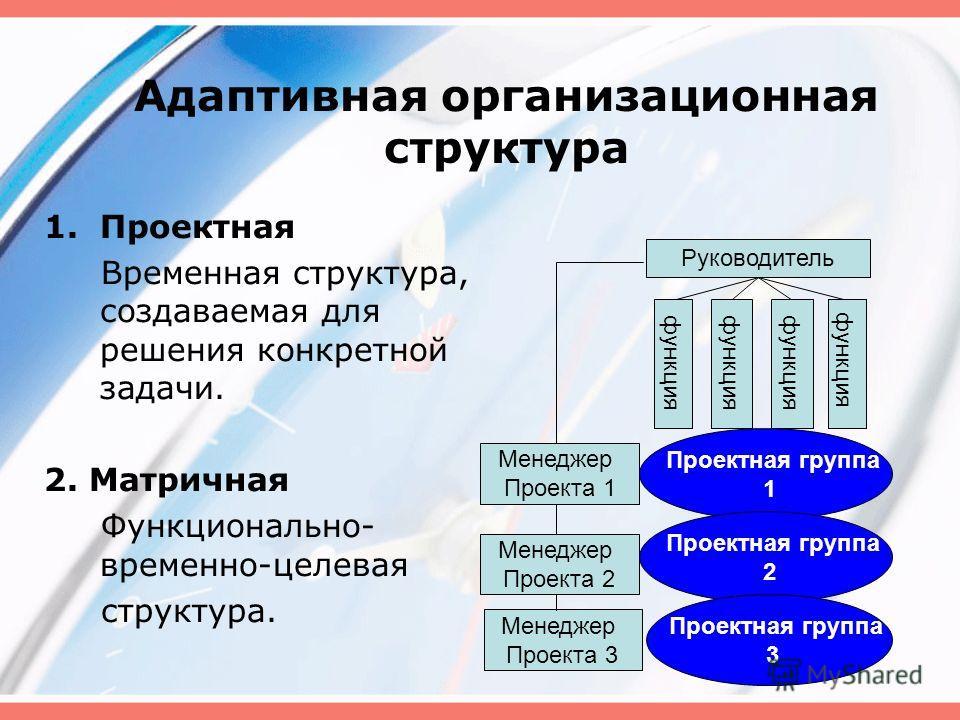 Адаптивная организационная структура 1.Проектная Временная структура, создаваемая для решения конкретной задачи. 2. Матричная Функционально- временно-целевая структура. Руководитель Менеджер Проекта 1 функция Проектная группа 1 Менеджер Проекта 2 Мен