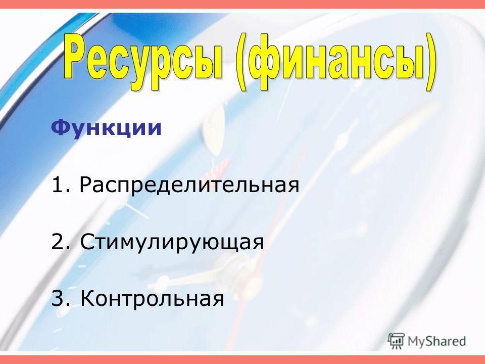 Функции 1.Распределительная 2. Стимулирующая 3. Контрольная