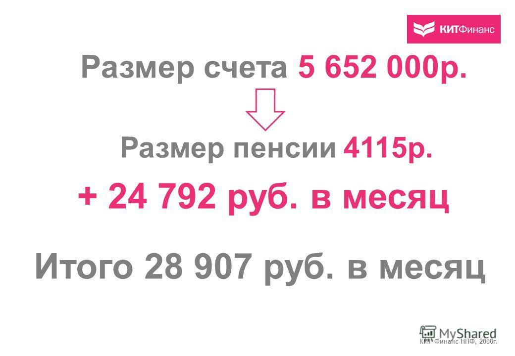 Размер счета 5 652 000р. Размер пенсии 4115р. + 24 792 руб. в месяц Итого 28 907 руб. в месяц КИТ Финанс НПФ, 2008г.
