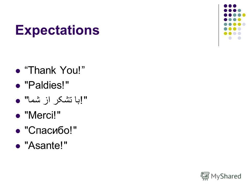 Expectations Thank You! Paldies! با تشکر از شما! Merci! Спасибо! Asante!