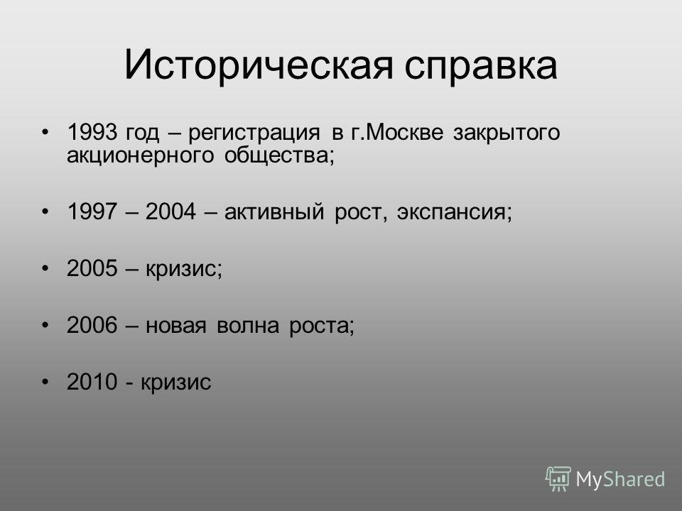 Историческая справка 1993 год – регистрация в г.Москве закрытого акционерного общества; 1997 – 2004 – активный рост, экспансия; 2005 – кризис; 2006 – новая волна роста; 2010 - кризис