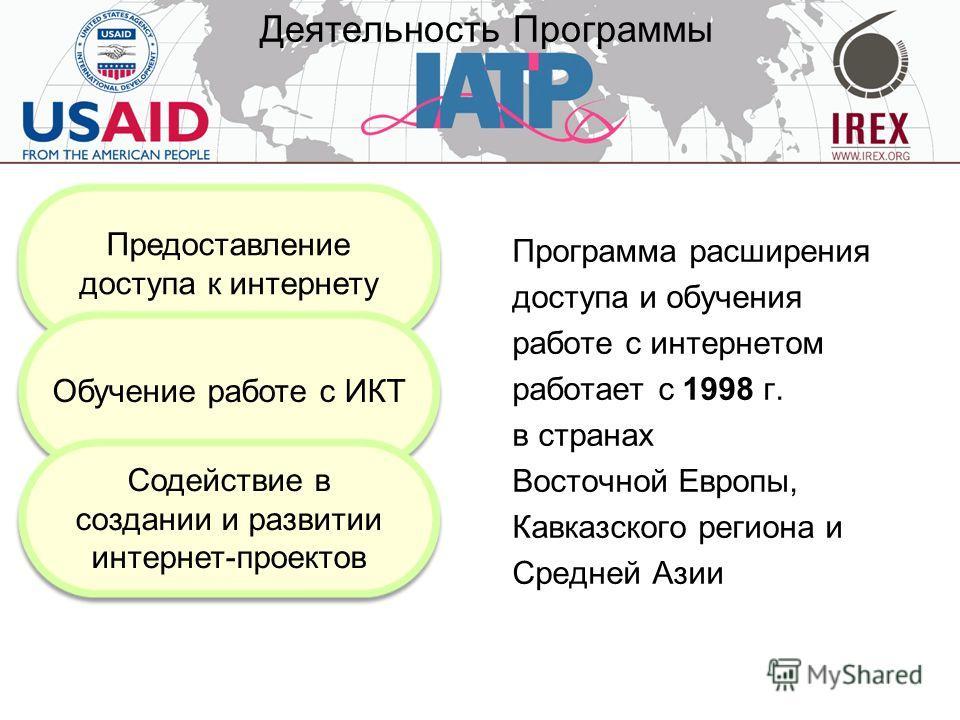 Деятельность Программы Программа расширения доступа и обучения работе с интернетом работает с 1998 г. в странах Восточной Европы, Кавказского региона и Средней Азии Предоставление доступа к интернету Обучение работе с ИКТ Содействие в создании и разв
