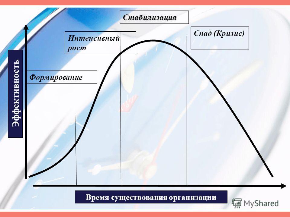 Время существования организации Эффективность Интенсивный рост Стабилизация Спад (Кризис) Формирование