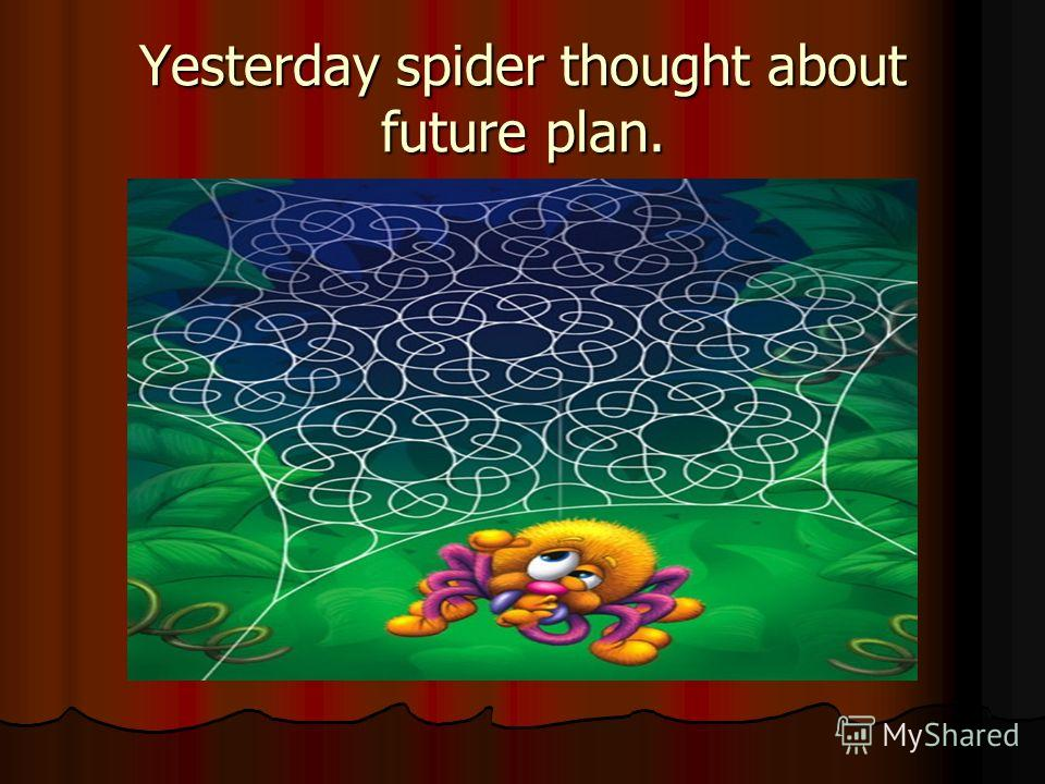 Yesterday spider thought about future plan.