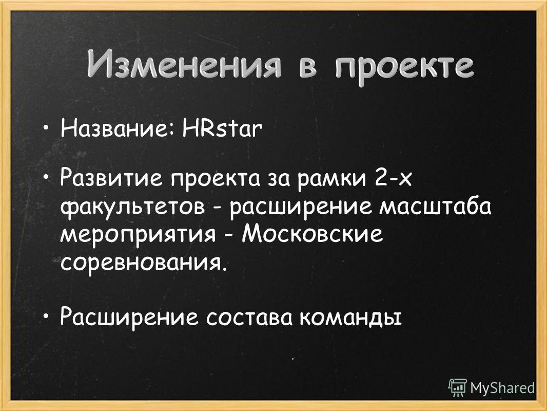 Название: HRstar Развитие проекта за рамки 2-х факультетов - р асширение масштаба мероприятия - Московские соревнования. Расширение состава команды