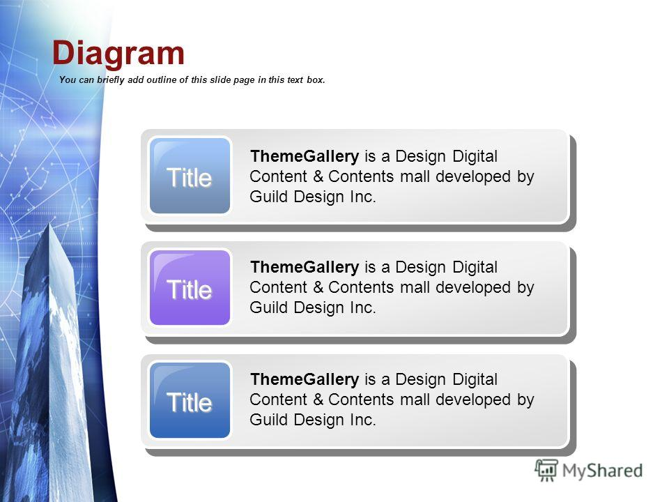 Diagram You can briefly add outline of this slide page in this text box. Title ThemeGallery is a Design Digital Content & Contents mall developed by Guild Design Inc. Title Title