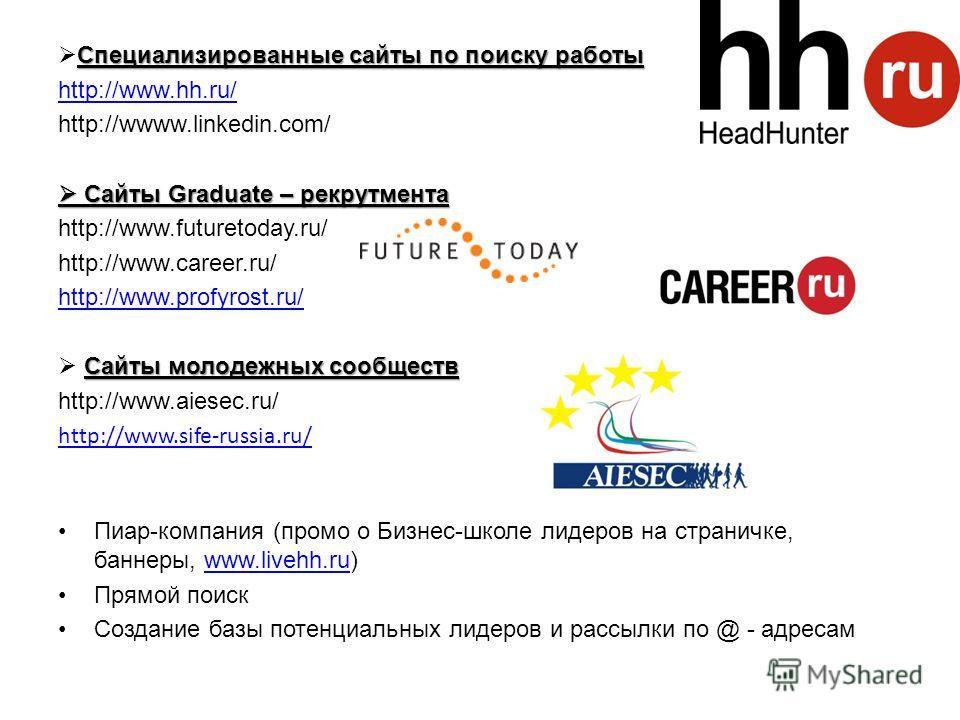 Специализированные сайты по поиску работы http://www.hh.ru/ http://wwww.linkedin.com/ Сайты Graduate – рекрутмента Сайты Graduate – рекрутмента http://www.futuretoday.ru/ http://www.career.ru/ http://www.profyrost.ru/ Сайты молодежных сообществ http: