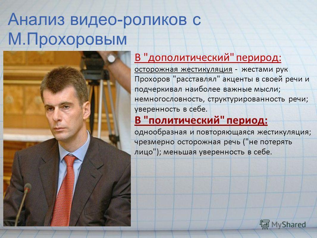 Анализ видео-роликов с М.Прохоровым В
