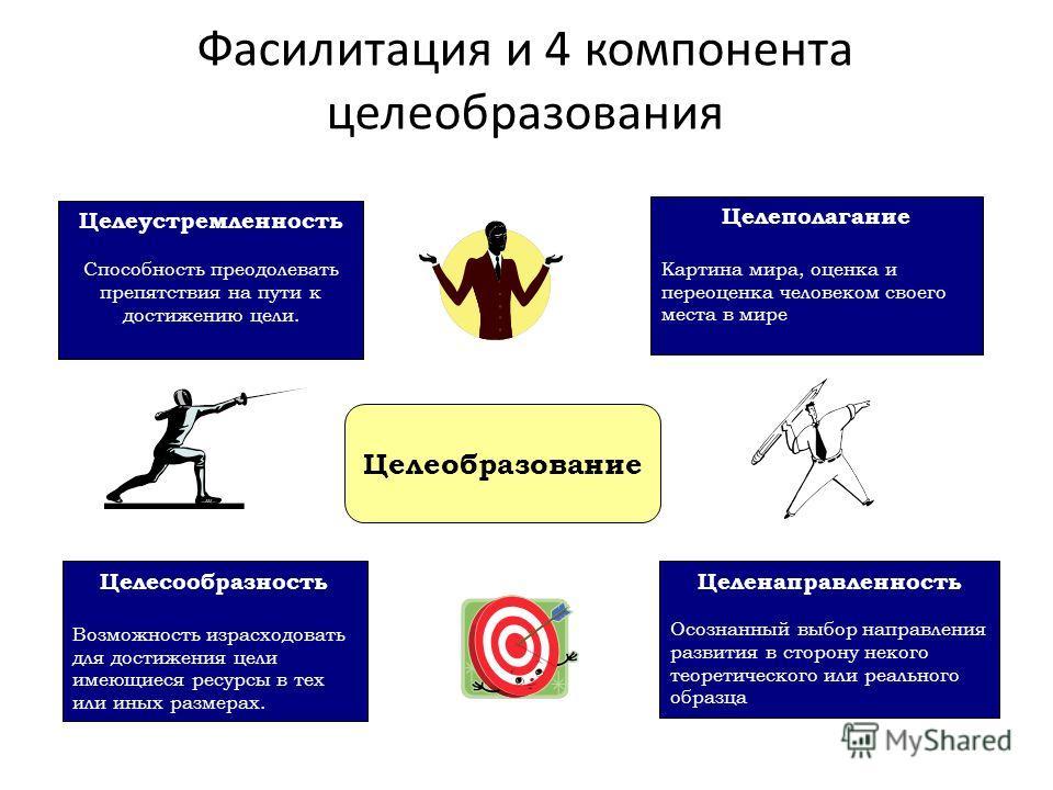 Фасилитация и 4 компонента целеобразования Целеустремленность Способность преодолевать препятствия на пути к достижению цели. Целеполагание Картина мира, оценка и переоценка человеком своего места в мире Целесообразность Возможность израсходовать для