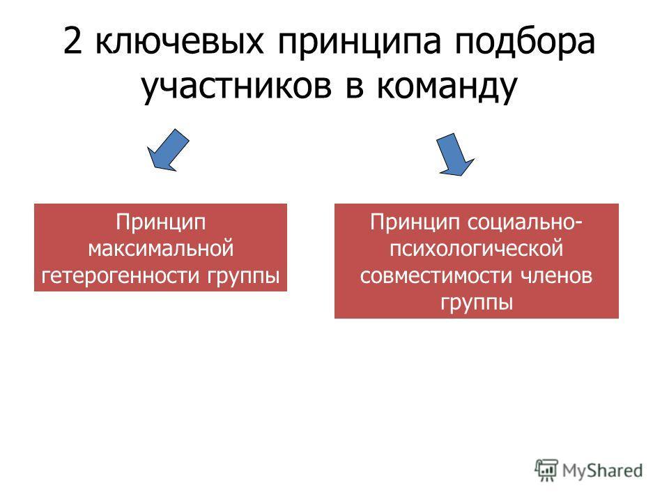 2 ключевых принципа подбора участников в команду Принцип максимальной гетерогенности группы Принцип социально- психологической совместимости членов группы