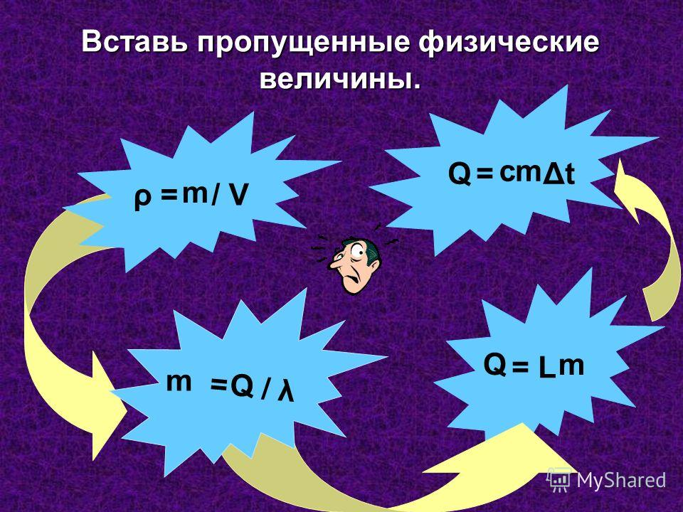 = L Вставь пропущенные физические величины. ρ = / V = / λ m m Q Q Q = Δt m m с