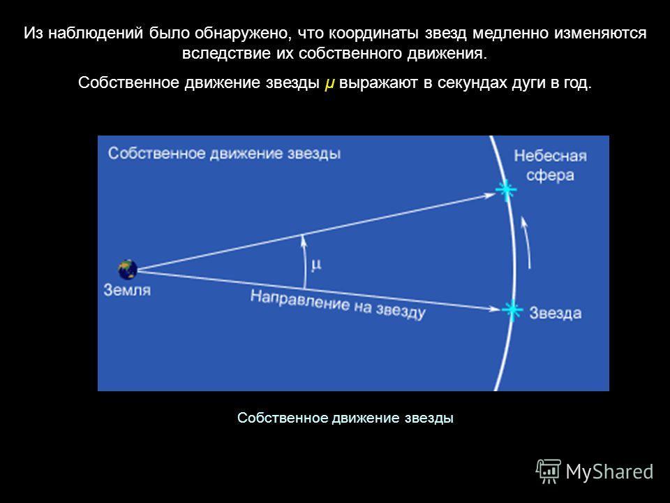 Из наблюдений было обнаружено, что координаты звезд медленно изменяются вследствие их собственного движения. Собственное движение звезды μ выражают в секундах дуги в год. Собственное движение звезды