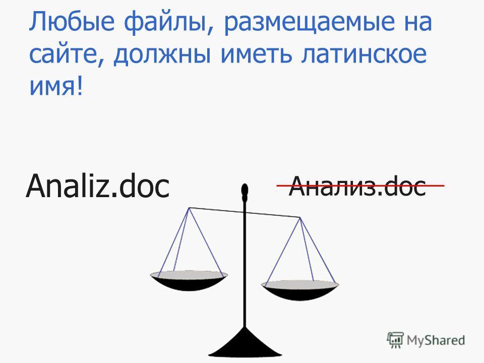 Любые файлы, размещаемые на сайте, должны иметь латинское имя! Анализ.doc Analiz.doc