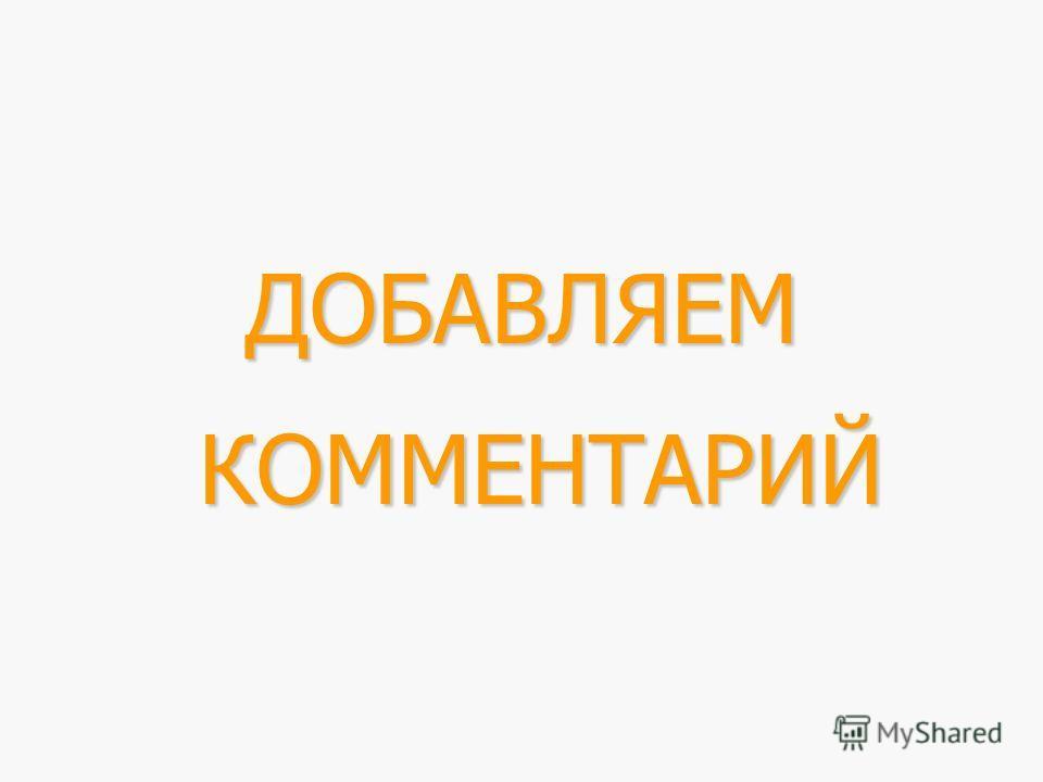 ДОБАВЛЯЕМ КОММЕНТАРИЙ