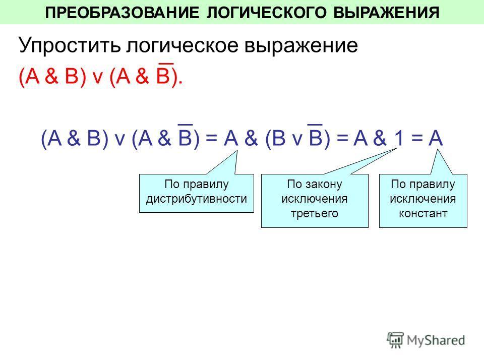 ПРЕОБРАЗОВАНИЕ ЛОГИЧЕСКОГО ВЫРАЖЕНИЯ Упростить логическое выражение (A & В) v (A & В). (A & В) v (A & В) = А & (B v B) = A & 1 = A По правилу дистрибутивности По закону исключения третьего По правилу исключения констант