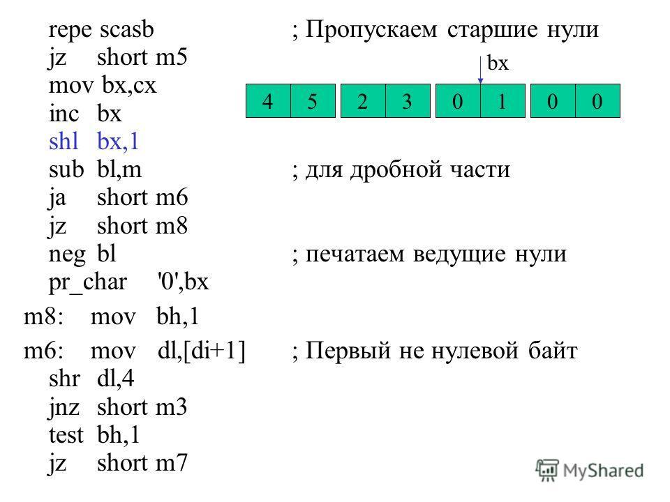 repe scasb; Пропускаем старшие нули jz short m5 mov bx,cx inc bx shl bx,1 sub bl,m; для дробной части ja short m6 jz short m8 neg bl; печатаем ведущие нули pr_char'0',bx m8:mov bh,1 m6:movdl,[di+1]; Первый не нулевой байт shr dl,4 jnz short m3 test b