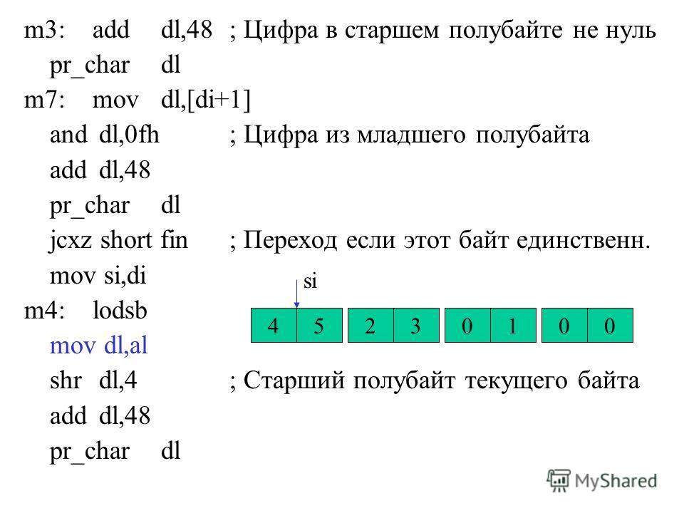 m3:adddl,48; Цифра в старшем полубайте не нуль pr_chardl m7:movdl,[di+1] and dl,0fh; Цифра из младшего полубайта add dl,48 pr_chardl jcxz short fin; Переход если этот байт единственн. mov si,di m4:lodsb mov dl,al shr dl,4; Старший полубайт текущего б