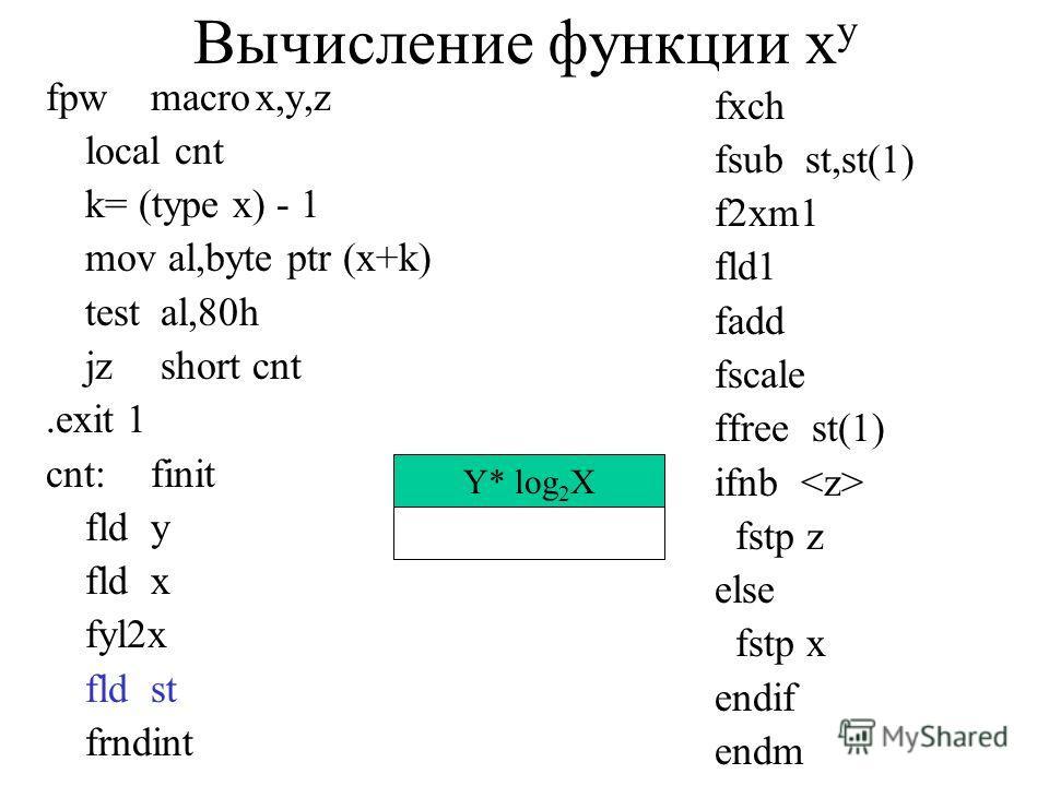 Вычисление функции x y fpwmacrox,y,z local cnt k= (type x) - 1 mov al,byte ptr (x+k) test al,80h jz short cnt.exit 1 cnt:finit fldy fldx fyl2x fldst frndint fxch fsub st,st(1) f2xm1 fld1 fadd fscale ffree st(1) ifnb fstp z else fstp x endif endm Y* l