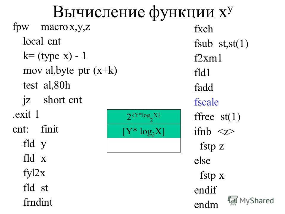 Вычисление функции x y fpwmacrox,y,z local cnt k= (type x) - 1 mov al,byte ptr (x+k) test al,80h jz short cnt.exit 1 cnt:finit fldy fldx fyl2x fldst frndint fxch fsub st,st(1) f2xm1 fld1 fadd fscale ffree st(1) ifnb fstp z else fstp x endif endm [Y*