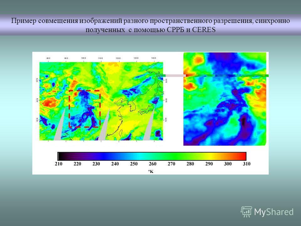 Пример совмещения изображений разного пространственного разрешения, синхронно полученных с помощью СРРБ и CERES