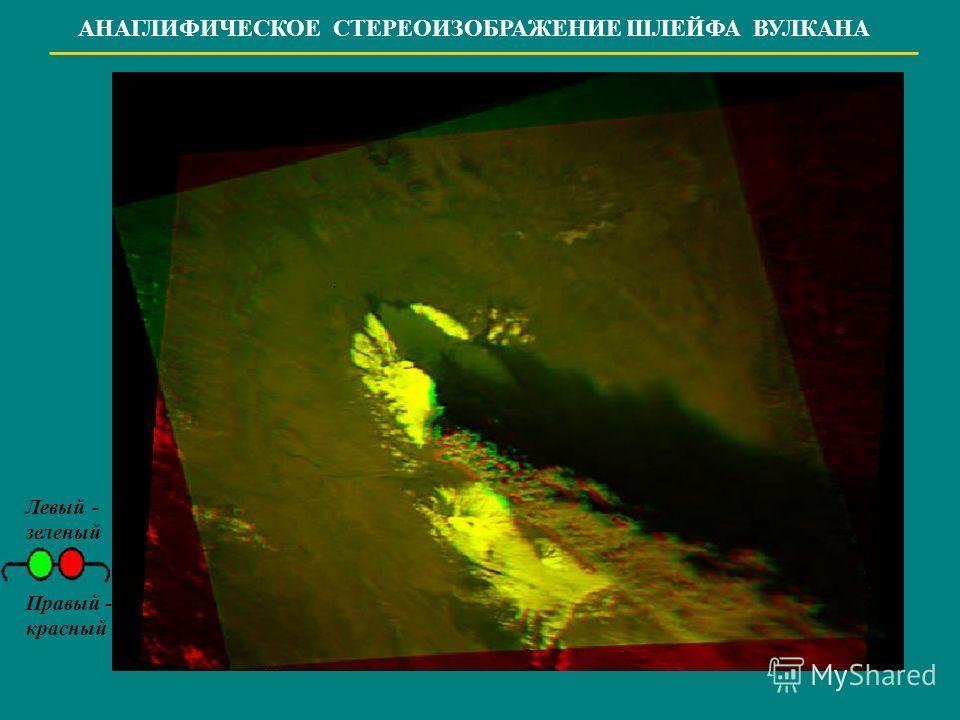 АНАГЛИФИЧЕСКОЕ СТЕРЕОИЗОБРАЖЕНИЕ ШЛЕЙФА ВУЛКАНА Левый - зеленый Правый - красный