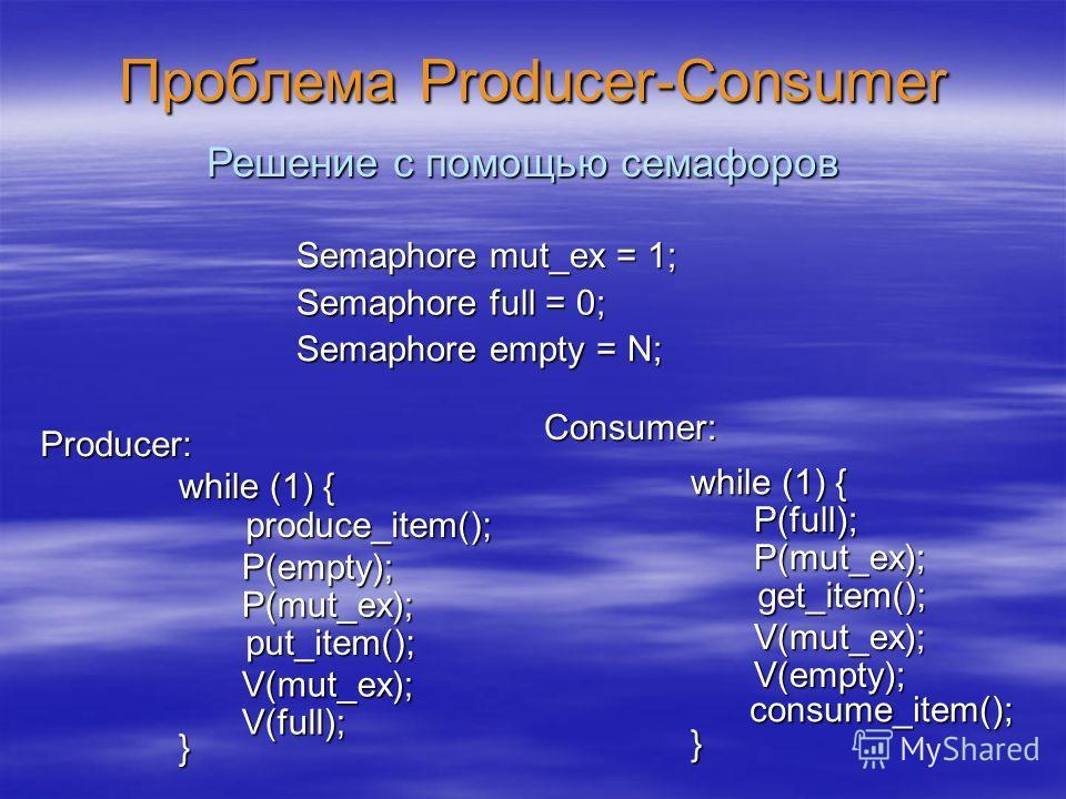 Проблема Producer-Consumer Producer: while (1) { } produce_item(); put_item(); Consumer: Решение с помощью семафоров Semaphore mut_ex = 1; Semaphore full = 0; Semaphore empty = N; P(empty); P(mut_ex); V(full); V(mut_ex); while (1) { } consume_item();