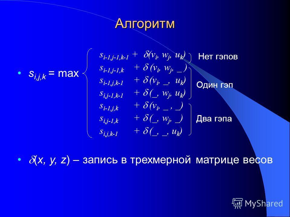 Алгоритм s i,j,k = max (x, y, z) – запись в трехмерной матрице весов s i-1,j-1,k-1 + (v i, w j, u k ) s i-1,j-1,k + (v i, w j, _ ) s i-1,j,k-1 + (v i, _, u k ) s i,j-1,k-1 + (_, w j, u k ) s i-1,j,k + (v i, _, _) s i,j-1,k + (_, w j, _) s i,j,k-1 + (