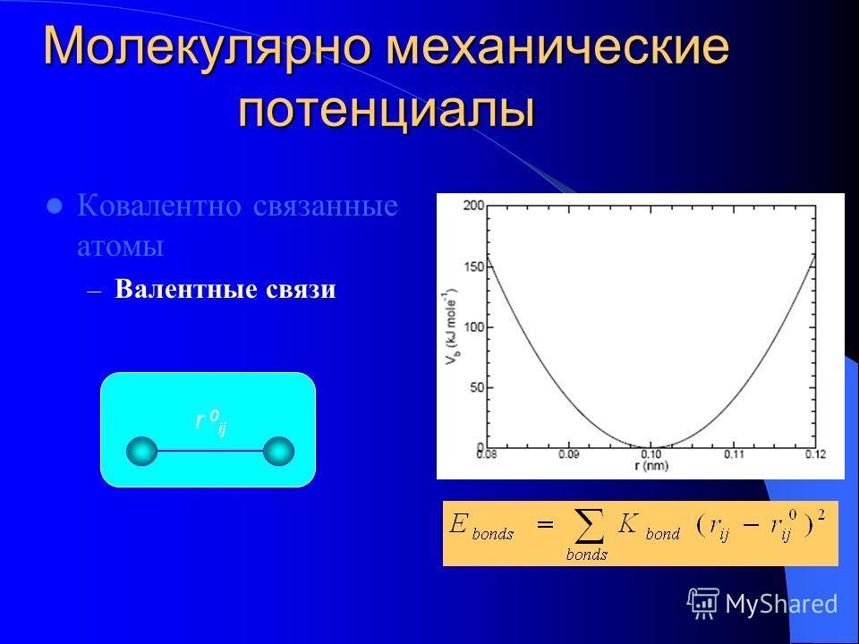 Молекулярно механические потенциалы Ковалентно связанные атомы – Валентные связи r 0 ij