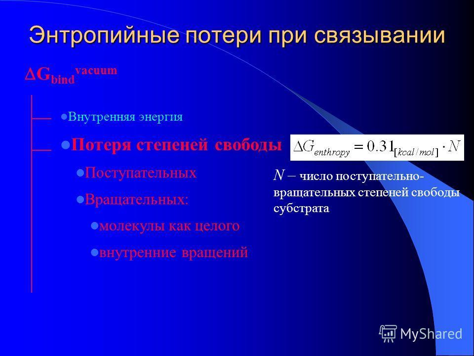 Энтропийные потери при связывании N – число поступательно- вращательных степеней свободы субстрата G bind vacuum Внутренняя энергия Потеря степеней свободы Поступательных Вращательных: молекулы как целого внутренние вращений