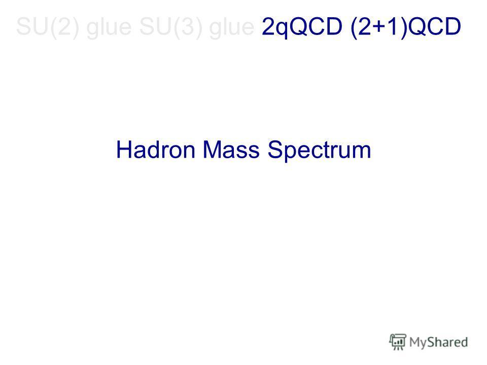 SU(2) glue SU(3) glue 2qQCD (2+1)QCD Hadron Mass Spectrum