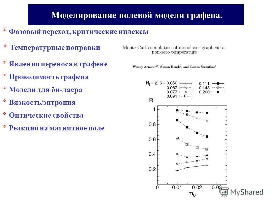 Моделирование полевой модели графена. ٭ Явления переноса в графене ٭ Фазовый переход, критические индексы ٭ Температурные поправки ٭ Проводимость графена ٭ Модели для би-лаера ٭ Вязкость/энтропия ٭ Оптические свойства ٭ Реакция на магнитное поле