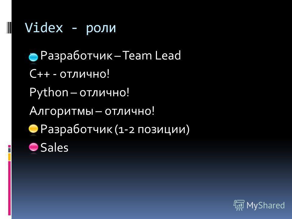 Videx - роли Разработчик – Team Lead C++ - отлично! Python – отлично! Алгоритмы – отлично! Разработчик (1-2 позиции) Sales