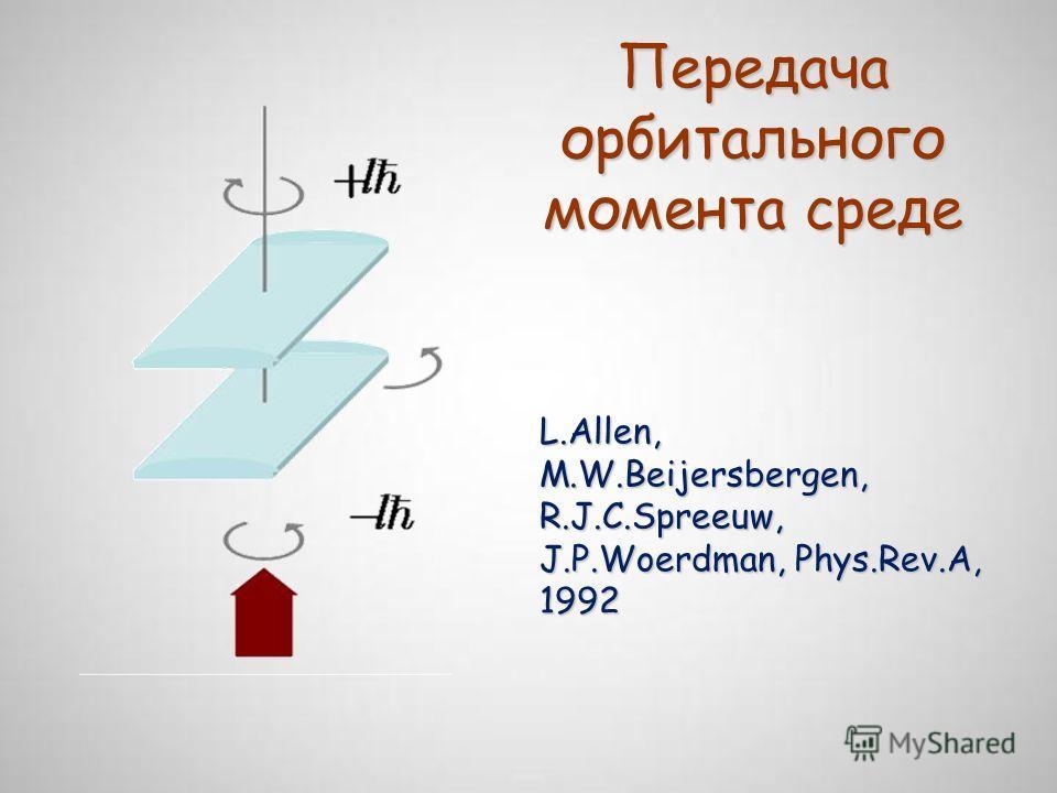 Передача орбитального момента среде L.Allen, M.W.Beijersbergen, R.J.C.Spreeuw, J.P.Woerdman, Phys.Rev.A, 1992